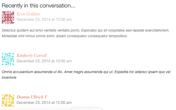 Screenshot of Postmatic email comment notification