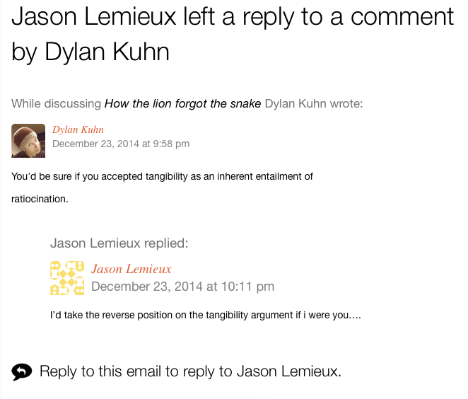 Screenshot of threaded comment notifications in Postmatic