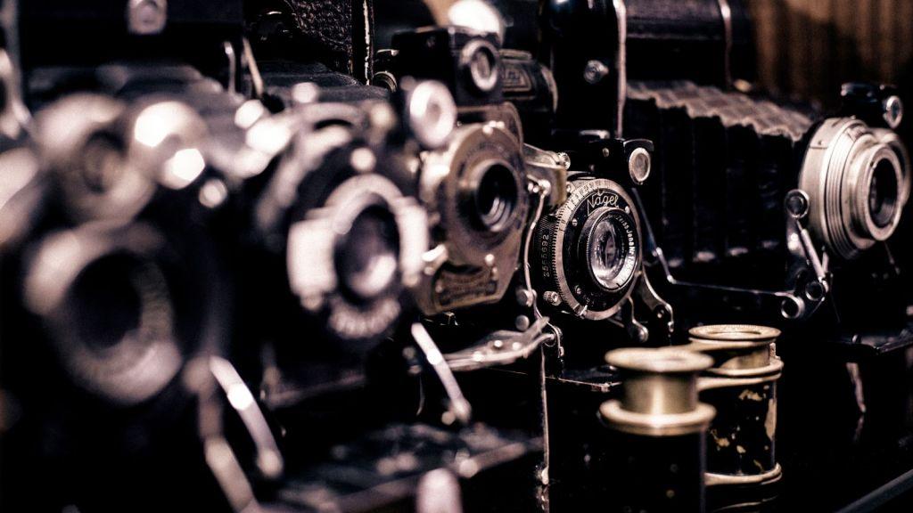 Closeup of vintage cameras