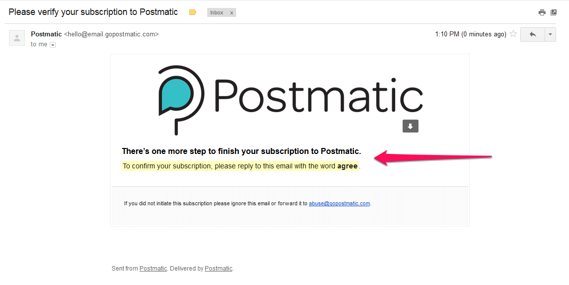 Screenshot of Postmatic subscription opt-in email