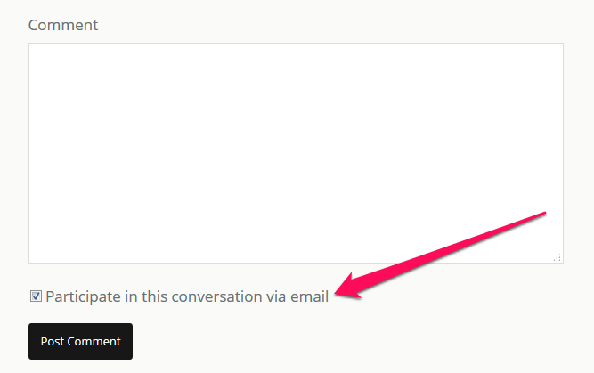 Screenshot of Postmatic default opt-in text with comment form