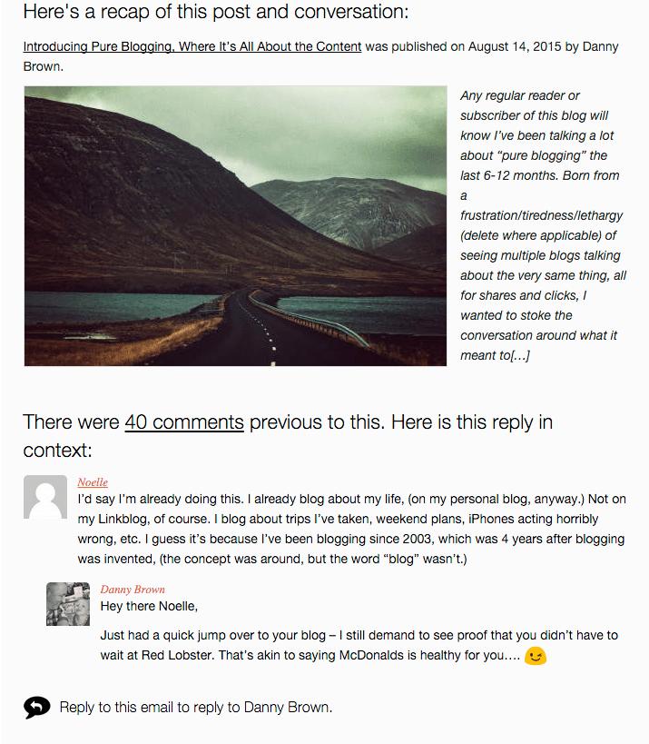 Postmatic recap of blog post conversation